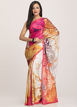 Multicolored Satin Abstract Designed Saree