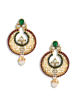 Multicolored Stone Studded Chand Balis