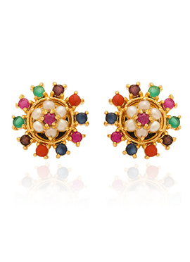 Multicolored Stones Stud Earring