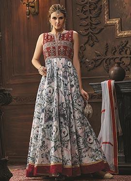 Multicolored Taffeta Anarkali Suit
