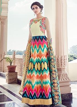 Multicolored Taffeta Art Silk Anarkali Suit