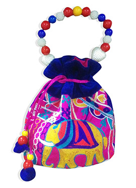 Multicolored Traditional Patterned Printed Potli Bag