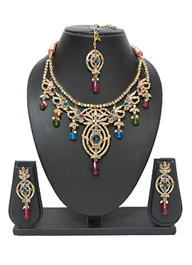 Multicolored Traditsiya Choker Necklace Set