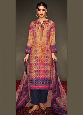 Multicolored Viscose Palazzo Suit