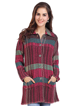 Multicolored Wool N Nylon Cardigan
