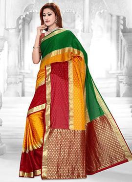 Multicolored Zari Weaved Crepe Saree