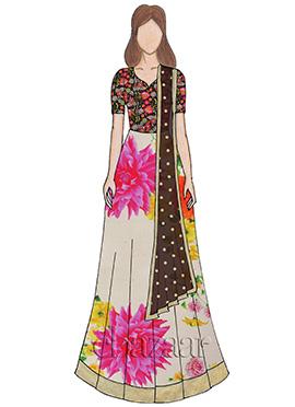 Multicolour Embroidered Abaya Style Anarkali Suit
