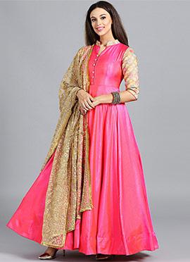 Multicolour Flared Abaya Style Anarkali