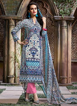 Multicoloured Blended Cotton Straight Pant Suit