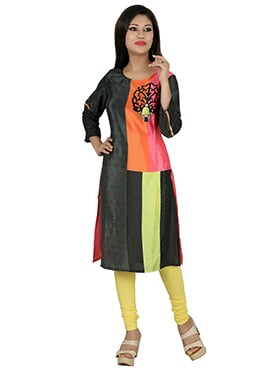 Multicoloured Crepe Kurti