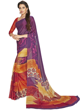 Multicoloured Half N Half Saree