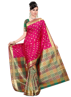 Multicolured and rani pink Half N Half Saree