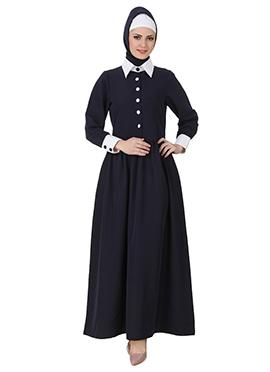 Muneerah Art Silk Navy Blue Abaya