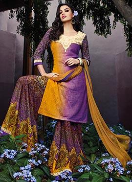 Mustard and Purple Palazzo Suit