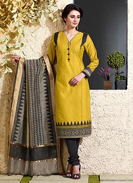 Mustard Art Chanderi Silk Cotton Churidar Suit
