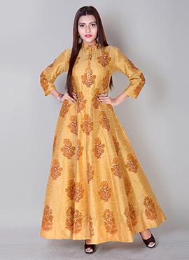 Mustard Art Dupion Silk Gown