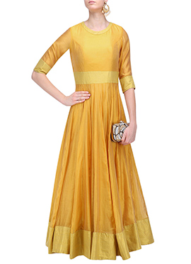 Mustard Art Silk Anarkali Gown