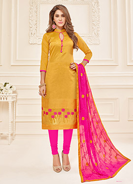 Mustard Art Silk Churidar Suit