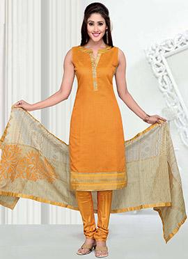 Mustard Art Silk Churidar Suit