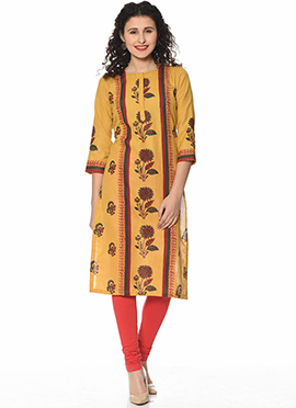 Mustard Art Silk Cotton Kurti