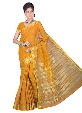 Mustard Art Silk Cotton Saree