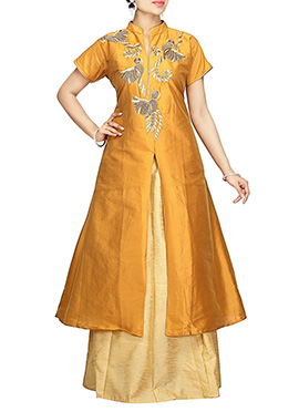 Mustard Art Silk Long Choli A Line Lehenga