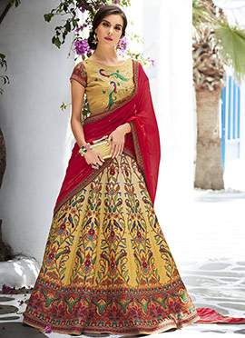 Mustard Art Silk Umbrella Lehenga