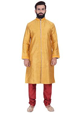Mustard Benarasi Cotton Silk Kurta Pyjama
