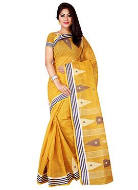 Mustard Bengal Handloom Tant Saree