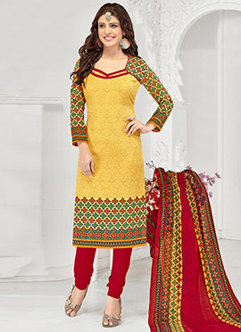 Mustard Blended Cotton Straight Suit