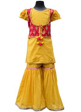 Fayon Mustard Blended Cotton Kids Salwar Kameez