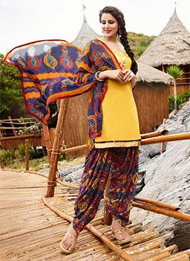 Mustard Blended Cotton Salwar Suit