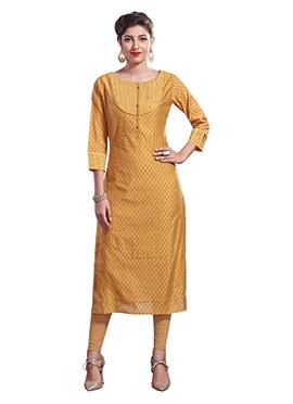 Mustard Chanderi Art Silk Churidar Suit