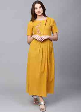 Mustard Cotton Dress