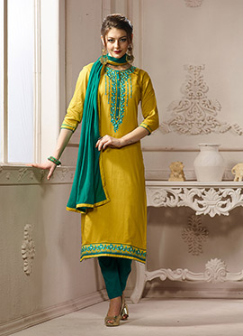 Mustard Cotton Straight Pant Suit