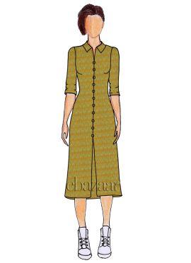Mustard Cotton Woven Shirt Style Kurti