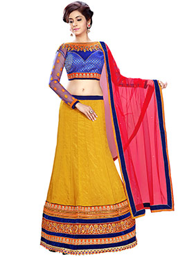 Mustard Embroidered A Line Lehenga Choli