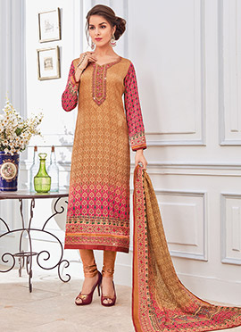 Mustard Faux Crepe Straight Suit