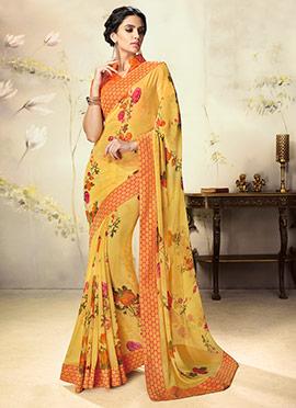 Mustard Floral Georgette Saree