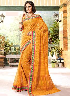 Mustard Gadwal Silk Printed Geometric Designed Saree