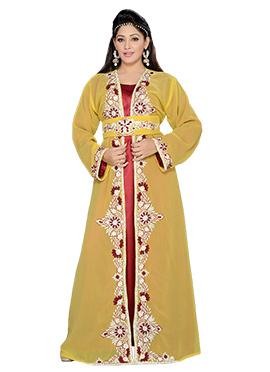 Mustard Georgette Embellished Center Slit Fustan