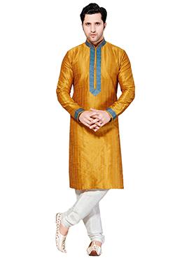 Mustard Ghicha Silk Kurta Pyjama