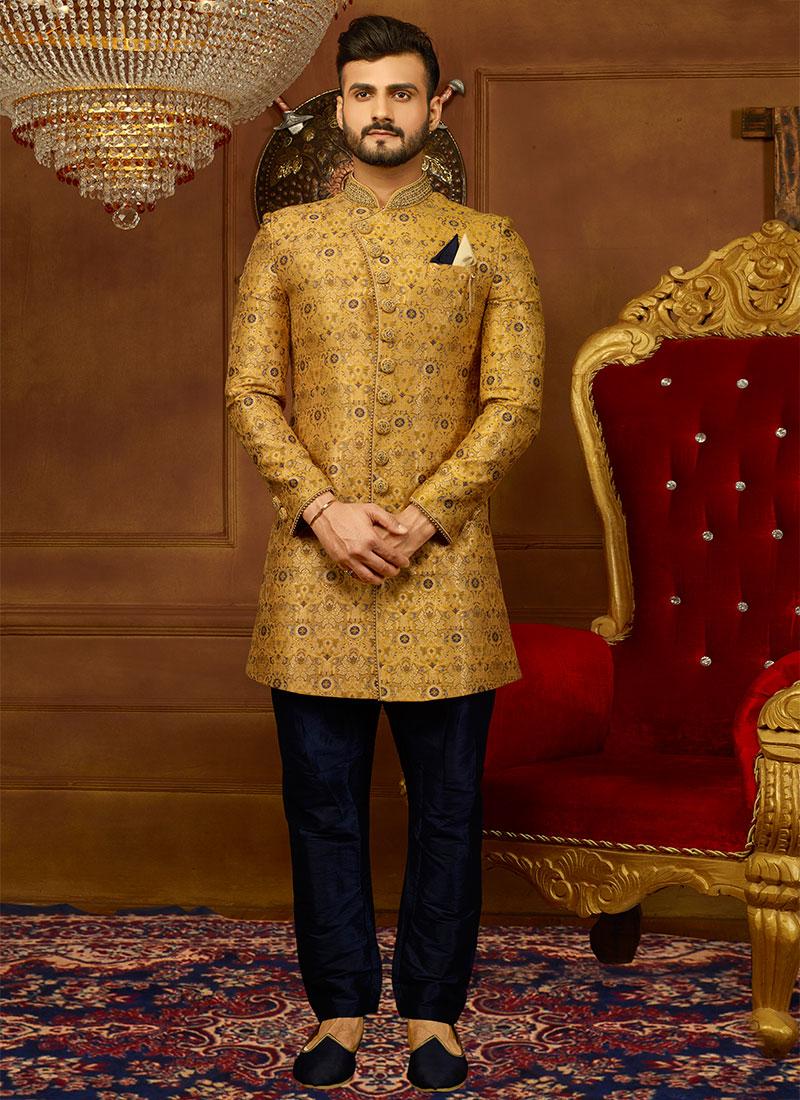 d11c987e61 Buy Mustard Jacquard Achkan Sherwani, Jacquard , Embroidered ...