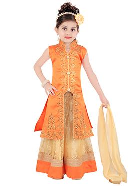 Orange Kids Long Choli Lehenga