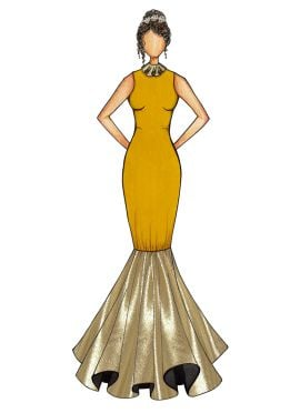 Mustard Mermaid Gown with Gold Bottom Flare