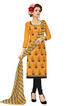 Mustard N Black Brasso Cotton Churidar Suit