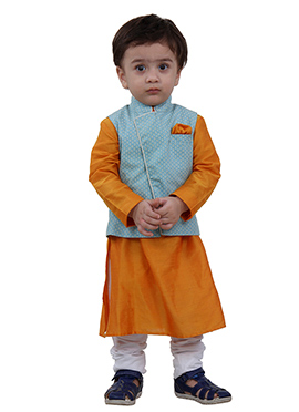 Mustard N Blue Art Silk Kids Bandi Set