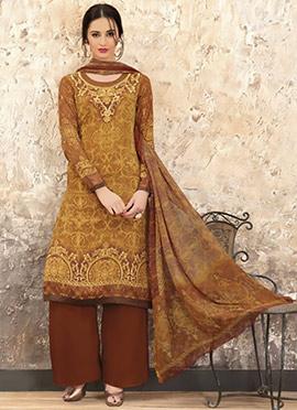 Mustard N Brown Crepe Palazzo Suit