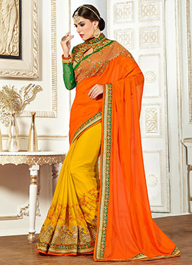 Mustard N Orange Half N Half Saree