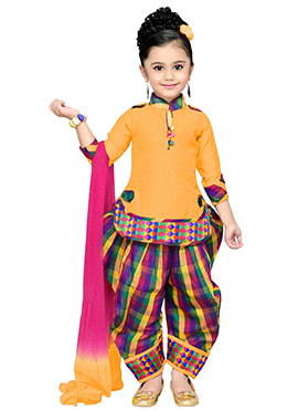 Mustard N Pink Kids Patiala Suit